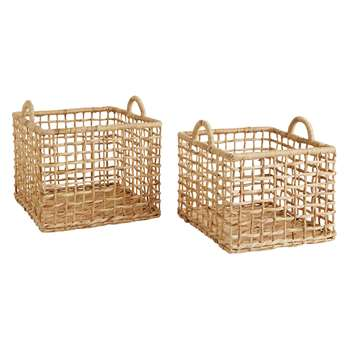 Habitat Leroy Set Of 2 Square Water Hyacinth Storage Baskets (29 x 38cm)