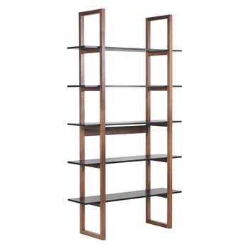 Habitat Loki Walnut And Black 5 Shelf Bookcase (200 x 110cm)