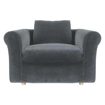 Habitat Louis Dark Grey Velvet Compact Sofa (79 x 140cm)