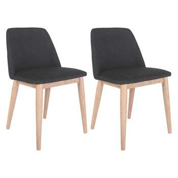 0afe37f345e Habitat Luther Pair Of Dark Grey Upholstered Dining Chairs (77 x 54cm)