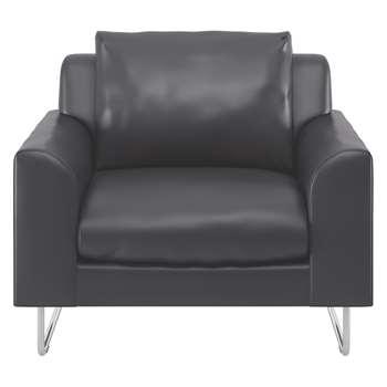 Habitat Lyle Black Leather Armchair