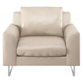 Habitat Lyle Cream Leather Armchair