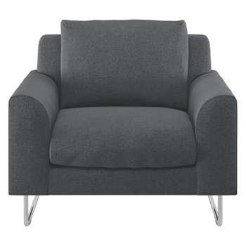 Habitat Lyle Grey Textured Fabric Armchair (79 x 87cm)