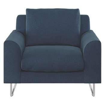 Habitat Lyle Navy Herringbone Wool Mix Fabric Armchair (79 x 87cm)