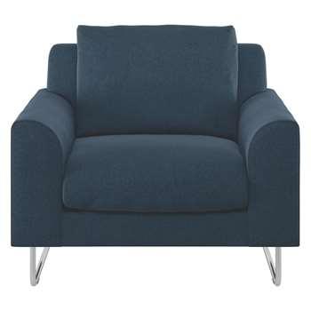 Habitat Lyle Navy Tweed Wool Mix Fabric Armchair (79 x 87cm)
