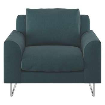 Habitat Lyle Teal Herringbone Wool Mix Fabric Armchair (79 x 87cm)