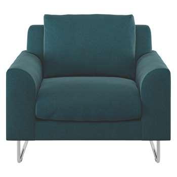 Habitat Lyle Teal Tweed Wool Mix Fabric Armchair (79 x 87cm)