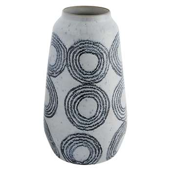 Habitat Mabel Black And White Patterned Vase (H33 x W17 x D17cm)