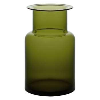 Habitat Mackenzie Olive Green Glass Jar Vase (H25 x W15 x D15cm)