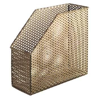 Habitat Macula Gold Mesh Magazine File (H10 x W2.6 x D23.5cm)