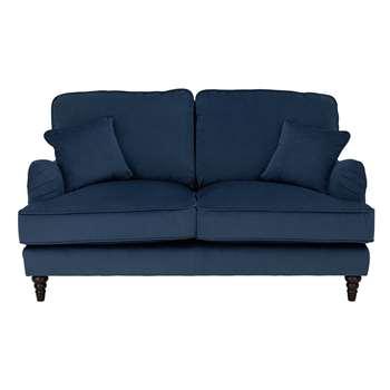 Habitat Matilda 2 Seater Velvet Sofa - Blue (H93 x W160 x D96cm)