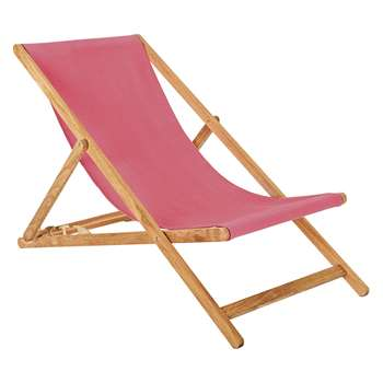 Habitat Maui Solid Oak Deckchair With Pink Sling (125 x 62.5cm)