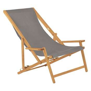 Habitat Maui Solid Oak Lounger With Charcoal Cotton Sling (125 x 72.5cm)