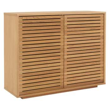 Habitat Max Oiled Oak 2 Door Console Cupboard With Slatted Doors (80 x 100cm)