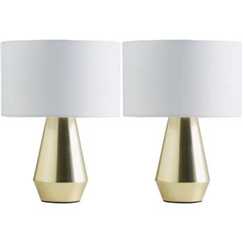 Habitat Maya Pair of Touch Table Lamps - Gold & White (H28 x W20 x D20cm)
