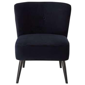 Habitat Merlot Velvet Accent Chair - Blue (H83 x W67 x D76cm)