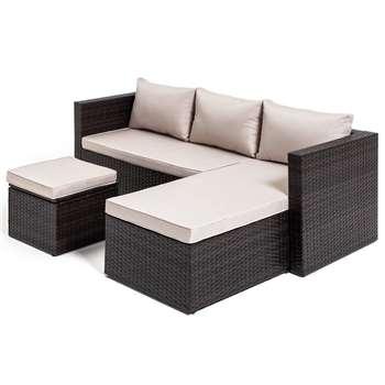 Habitat Mini Corner Sofa Set with Storage - Brown (H63 x W193 x D140cm)