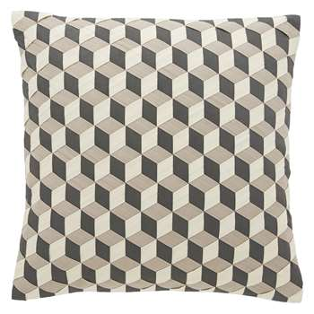 Habitat Mura Cream And Grey Geometric Woven Cushion (H45 x W45cm)