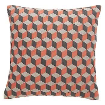 Habitat Mura Pink And Grey Geometric Woven Cushion (45 x 45cm)