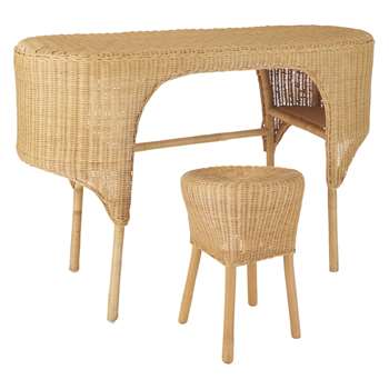 Habitat Nadia Natural Handwoven Rattan Dressing Table And Stool (77 x 42cm)