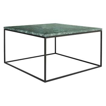 Habitat Nestor Green Marble Square Coffee Table On A Metal Base (32 x 75cm)