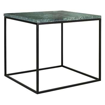 Habitat Nestor Green Marble Square Side Table On A Metal Base (H45 x W50 x D50cm)
