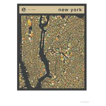 Habitat New York Map Print By Jazzberry Blue (70 x 50cm)