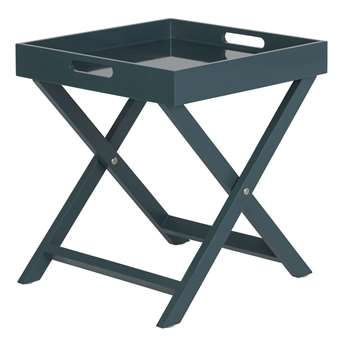 Habitat Oken Folding Side Table - Petrol Blue (H44 x W40 x D40cm)