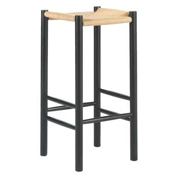 Habitat Oregan Black Bar Stool With Natural Cord Seat (72 x 35cm)