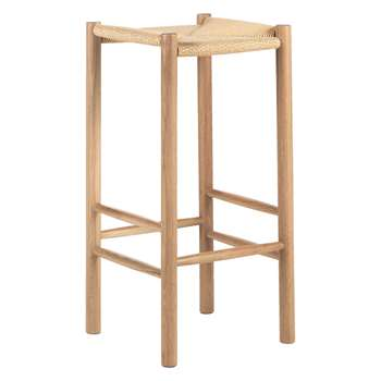 Habitat Oregan Oak Bar Stool With Natural Cord Seat (72 x 35cm)