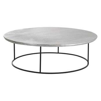 Habitat Orrico Hammered Aluminium Coffee Table With Black Frame (26 x 89cm)