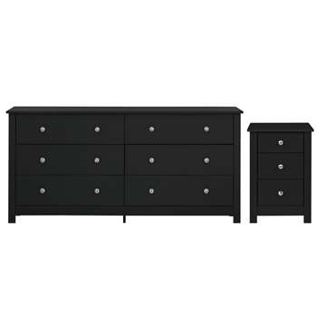 Habitat Osaka Bedside & 3+3 Drawer Chest Set - Black