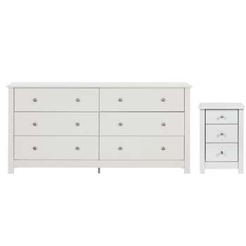 Habitat Osaka Bedside & 3+3 Drawer Chest Set - White