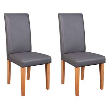 Habitat Pair of Midback Dining Chairs - Charcoal (H95 x W44 x D54cm)