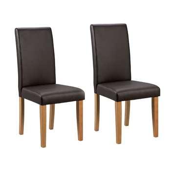 Habitat Pair of Midback Dining Chairs - Chocolate (H95 x W44 x D54cm)