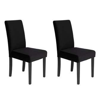 Habitat Pair of Midback Velvet Dining Chairs - Black (H95 x W44 x D54cm)