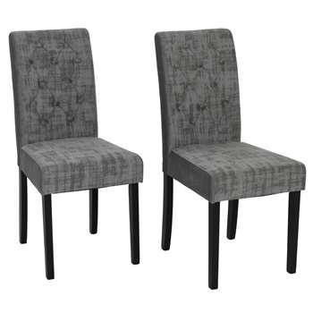 Habitat Pair of Midback Velvet Dining Chairs - Grey (H95 x W44 x D54cm)