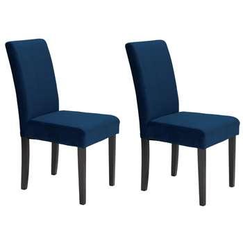 Habitat Pair of Midback Velvet Dining Chairs - Navy (H95 x W44 x D54cm)