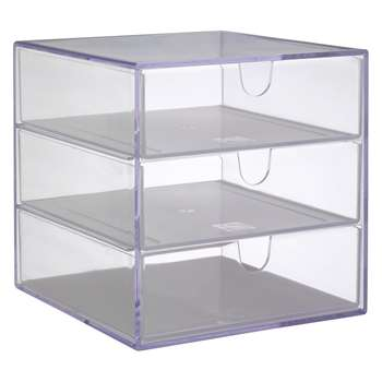 Habitat Palaset Clear Acrylic 3 Drawer Box (17 x 17cm)