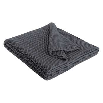 Habitat Paloma Knitted Cotton Throw - Grey (H125 x W170cm)