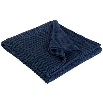 Habitat Paloma Knitted Cotton Throw - Ink Blue (H125 x W170cm)