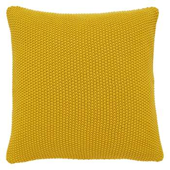 Habitat Paloma Saffron Yellow Knitted Cotton Cushion (H45 x W45cm)
