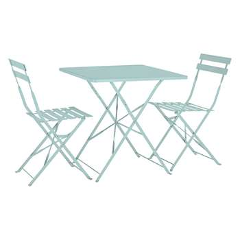 Habitat Parc Sage Green Metal Folding Garden Table And 2 Chairs