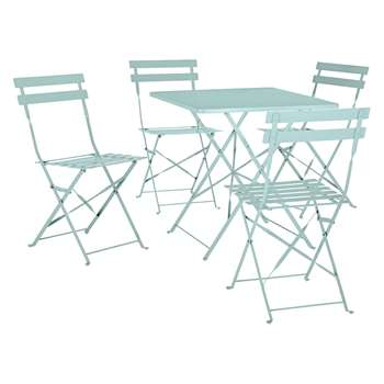 Habitat Parc Sage Green Metal Folding Garden Table And 4 Chairs