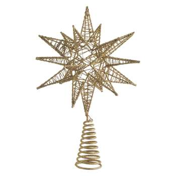Habitat Polaris Gold Star Christmas Tree Topper (30 x 19cm)