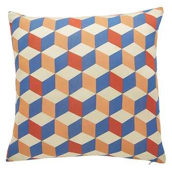 Habitat Quadra Multi-Coloured Printed Silk Blend Cushion (50 x 50cm)