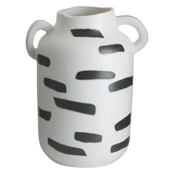 Habitat Quant White And Black Ceramic Vase 30 x 25cm