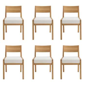 Habitat Radius Set Of 6 Oak Dining Chairs (77 x 50cm)