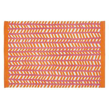 Habitat Rao Small Orange And Pink Cotton Flat Weave Rug (120 x 180cm)