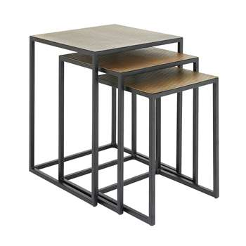 Habitat Raza India Nest of 2 Tables - Gold (H51 x W40 x D40cm)